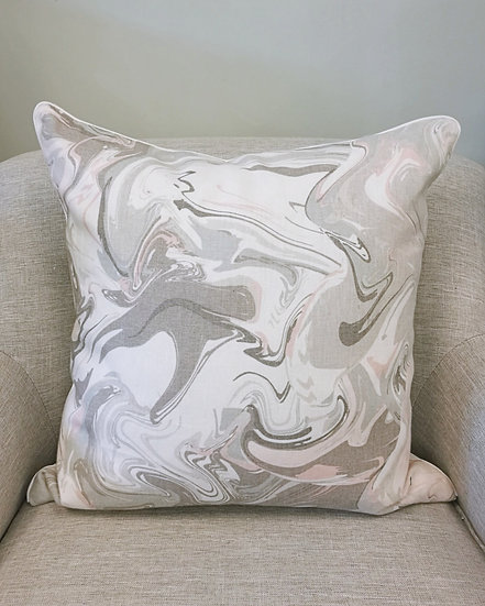 Kate Spade Marble throw pillow in shades of grey, blush pink, and white