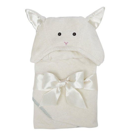 Ivory little lamb hooded baby bath towel made of 100% cotton terry cloth