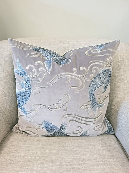 "22"" square grey velvet throw pillow embroidered with blue koi fish"