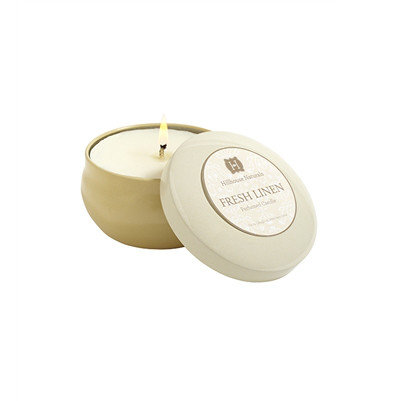 Fresh Linen scented soy candle in aluminum tin
