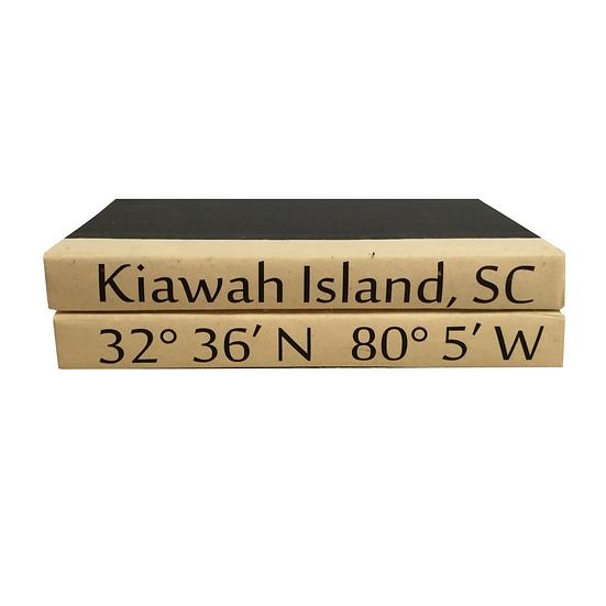 Decorative book set with Kiawah Island South Carolina city coordinates
