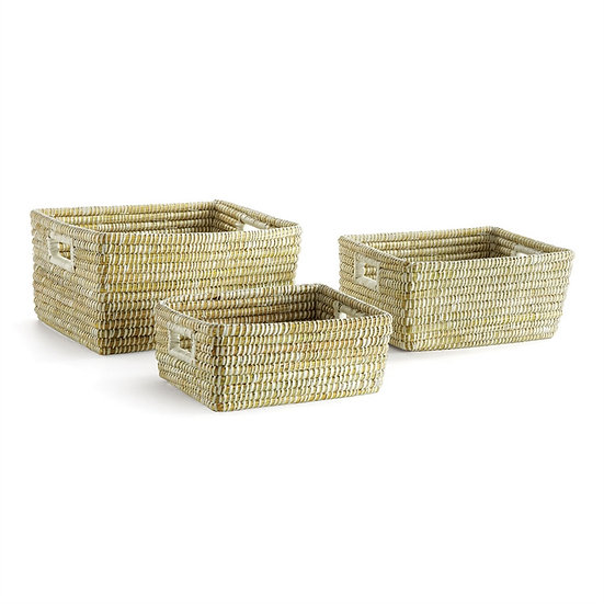 Hand woven rectangle baskets with handles made of rivergrass and raffia