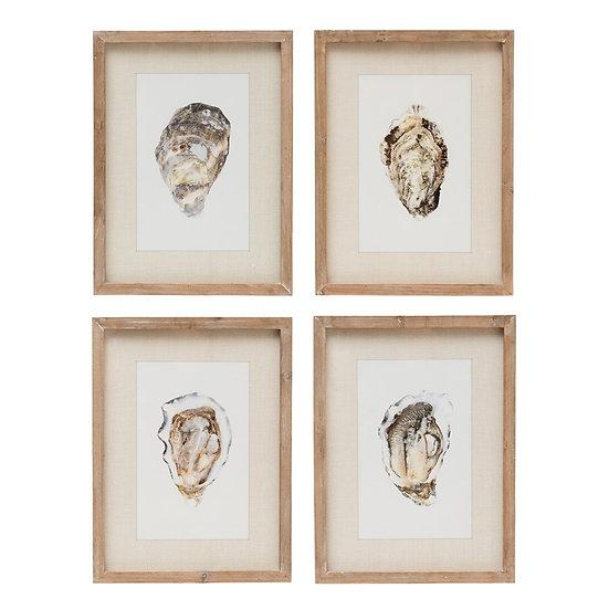 Framed coastal wall art of oyster shells at Aubergine Home Collection near Charleston South Carolina