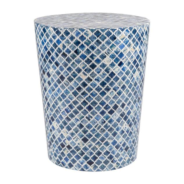 Blue Bone Mosaic Inlay Side Table