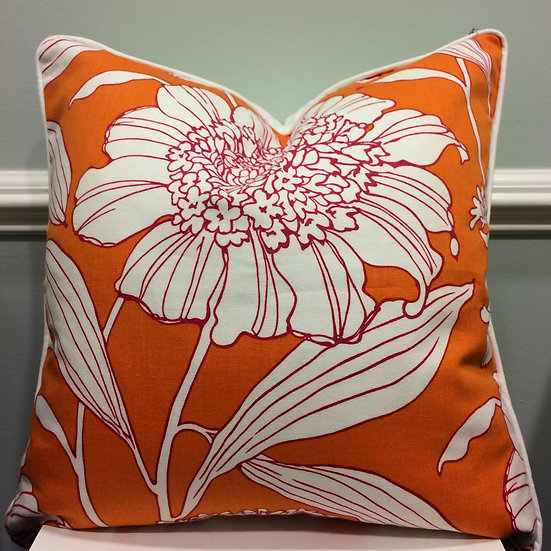 22 inch square orange and white floral printed throw pillow