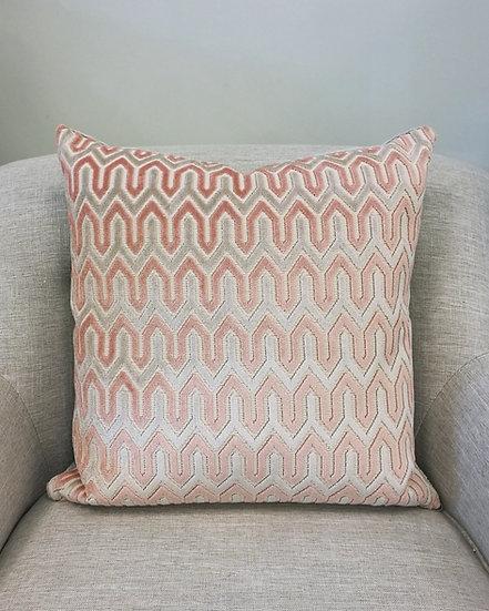 Blush Pink & Grey Velvet Throw Pillow