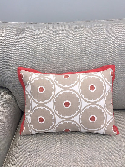 Boudoir pillow in Pop Flower Driftwood fabric with coral bias trim