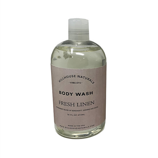 Fresh Linen scented body wash in a 16 oz bottle