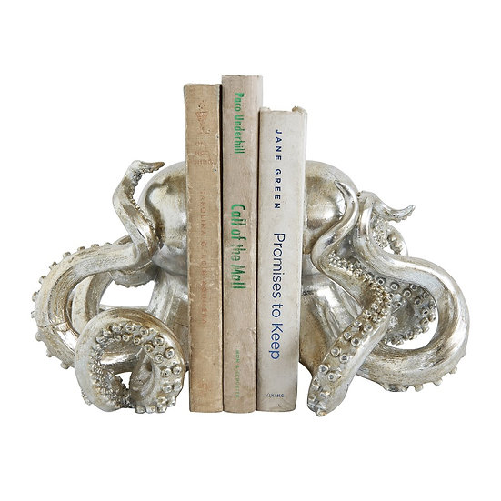 Set of two octopus bookends in an antique silver finish