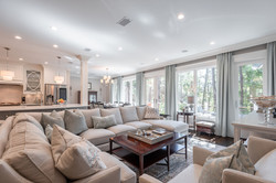 A neutral sectional sofa in the great room of this Kiawah Island South Carolina home
