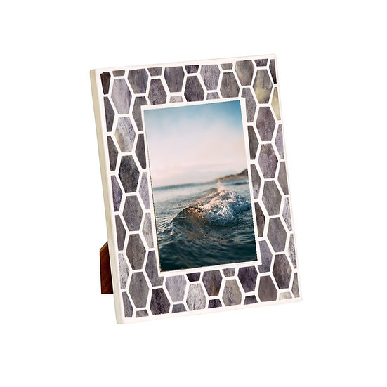 Grey bone picture frame with honeycomb pattern