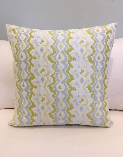 24 inch square blue and green wavy chevron accent throw pillow