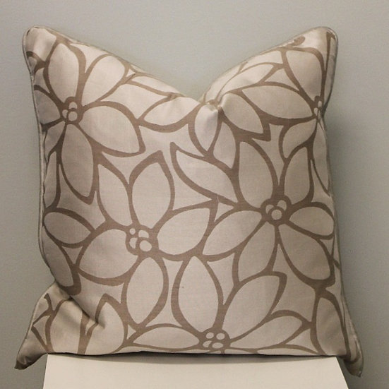 20 inch square throw pillow in a beige and taupe stylized floral botanical pattern