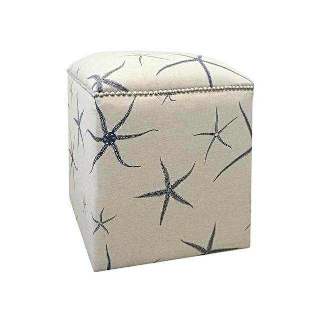 Blue Starfish Upholstered Cube Ottoman