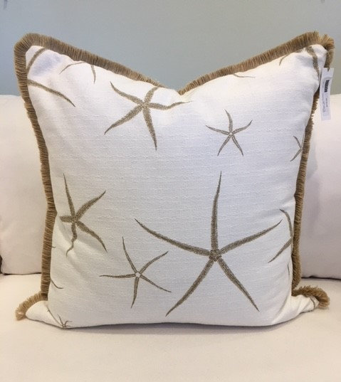 Taupe and white starfish throw pillow with jute fringe trim
