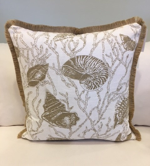 Seashell and coral print accent throw pillow in white and taupe
