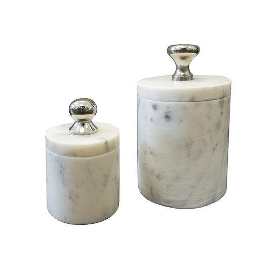 Small lidded marble jars