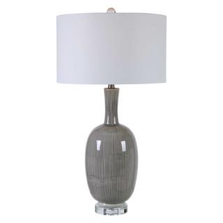 Leanna Light Grey Crackle Glaze Table Lamp