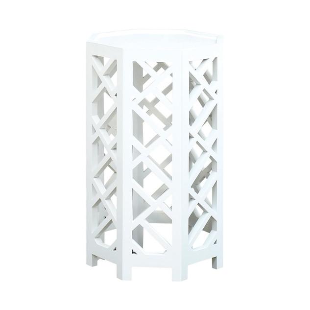 White Lattice Octagonal Side Table