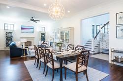 Formal dining room overlooking living room in Kiawah Island South Carolina home