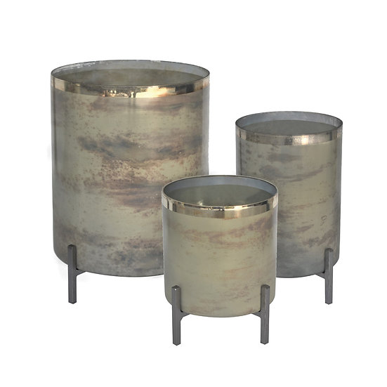 Claire mercury glass and metal hurricane candle holders with metal stands