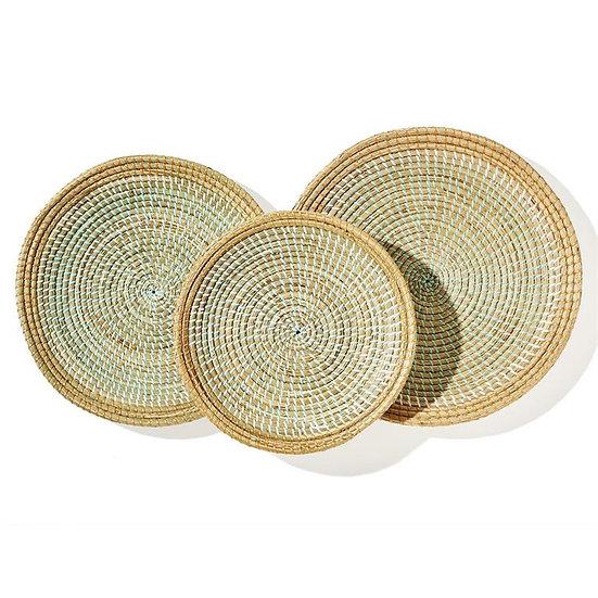 Phuket round woven platter set of 3