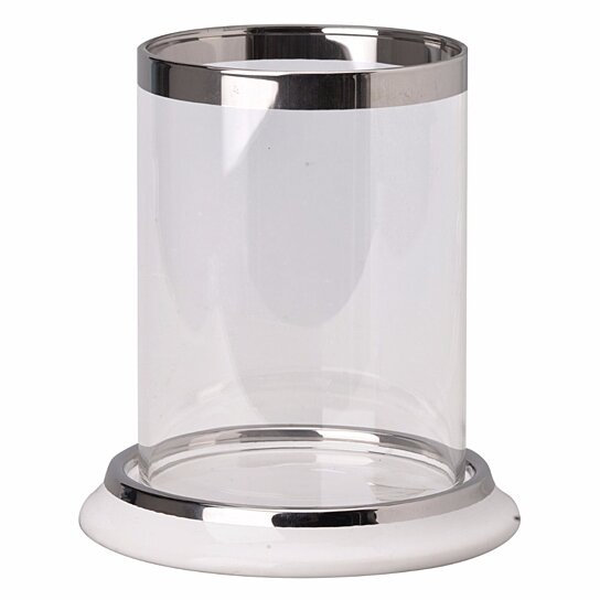 Clear glass hurricane candle holder with silver edges and a ceramic base