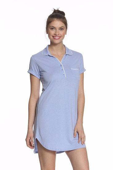 Pima Cotton Short Sleeve Pullover Night Shirt Lavender
