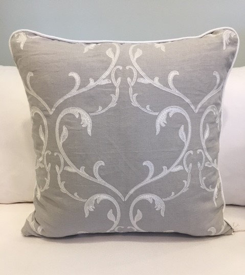 24x24 Grey Embellished Linen