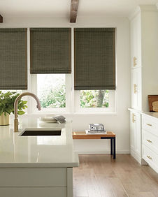 Hunter Douglas Woven Wood shades with bound edge in kitchen