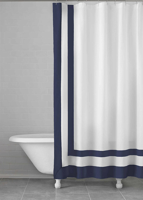 Kassatex Navy Edge Frame Shower Curtain