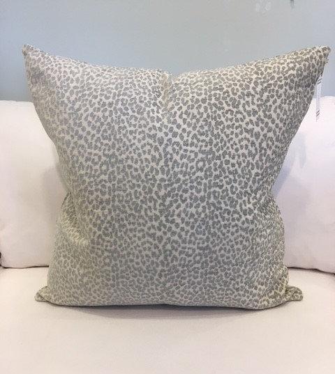 Aqua and ivory velvet animal print throw pillow
