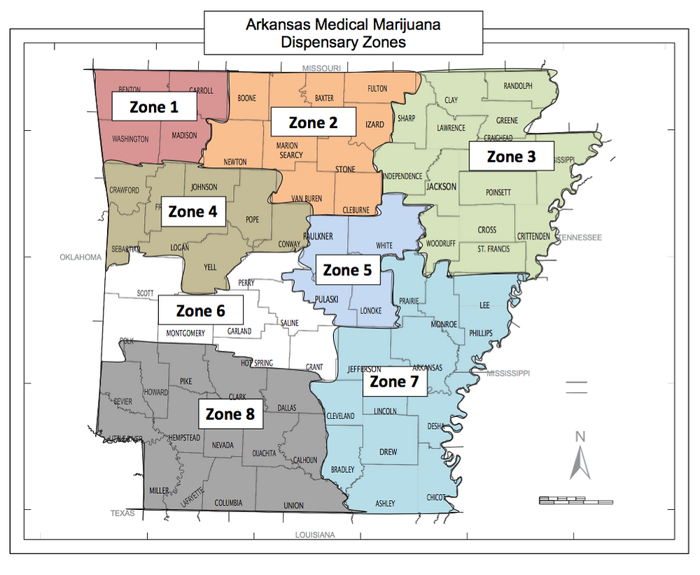 Arkansas Medical Marijuana Dispensary Zones Map