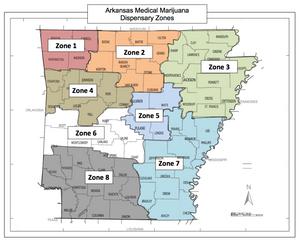 Arkansas Medical Marijuana Dispensary Zones Map