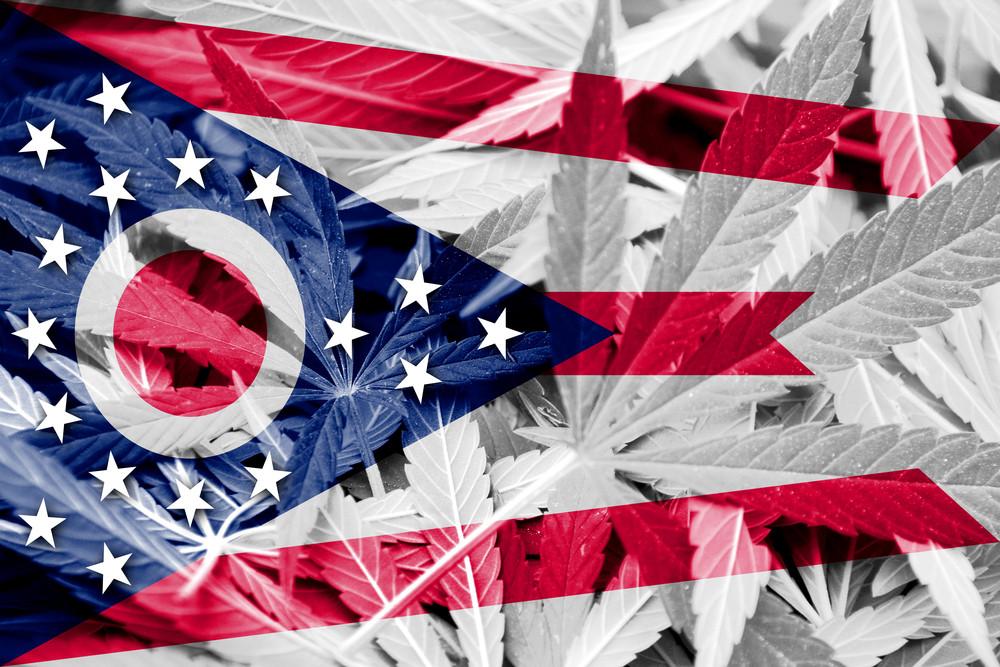 Ohio Flag with Overlaid Marijuana Leaves