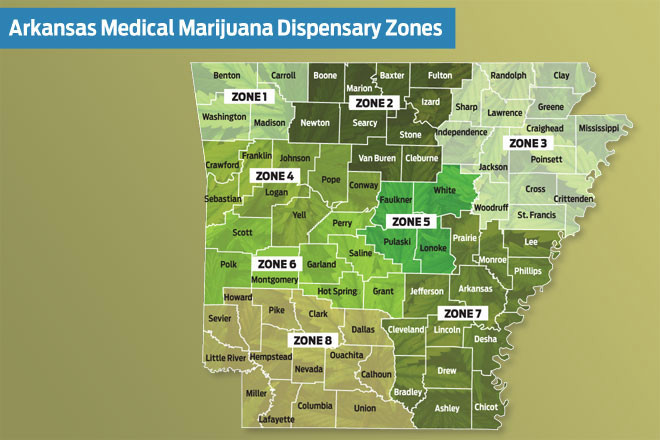 Arkansas Medical Marijuana Dispensary Zoning Map