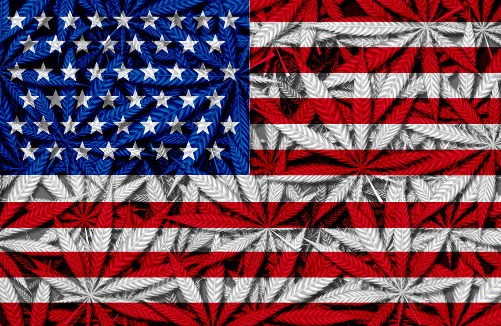 U.S. Flag Overlaid with Marijuana Leaves