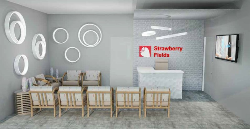 Strawberry Fields Marijuana Dispensary in Logan Interior Waiting Room Design Mock-Up
