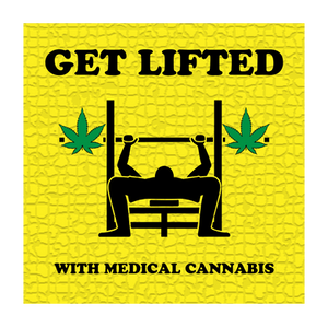 Graphic of a Person Lifting Weights with Marijuana Leaves Replacing the Weights