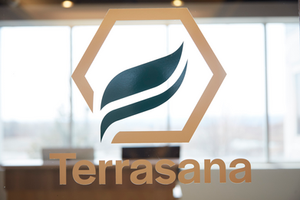 Terrasana Logo Posted on Glass Door
