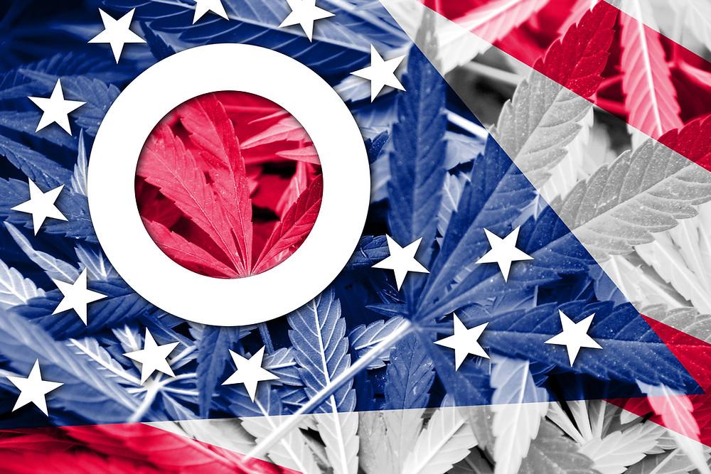 Ohio Flag with Marijuana Leaves