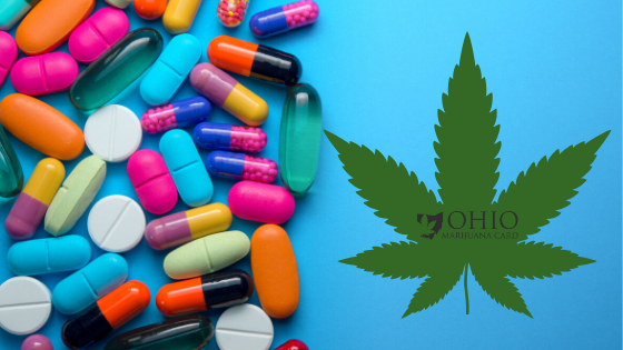 a photo of pills on the left hand side and then a photo of a marijuana leaf on the right with Ohio Marijuana Card Logo in the center of the leaf