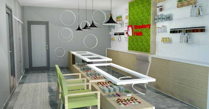 Strawberry Fields Marijuana Dispensary in Logan Interior Show Room Design Mock-Up