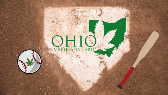a photo of home plate with ohio marijuana card logo placed on top, a baseball with a marijuana leaf on the left and a baseball bat on the right