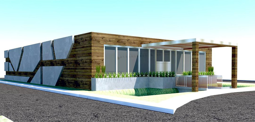 Strawberry Fields Marijuana Dispensary in Logan Exterior of Building Design Mock-Up