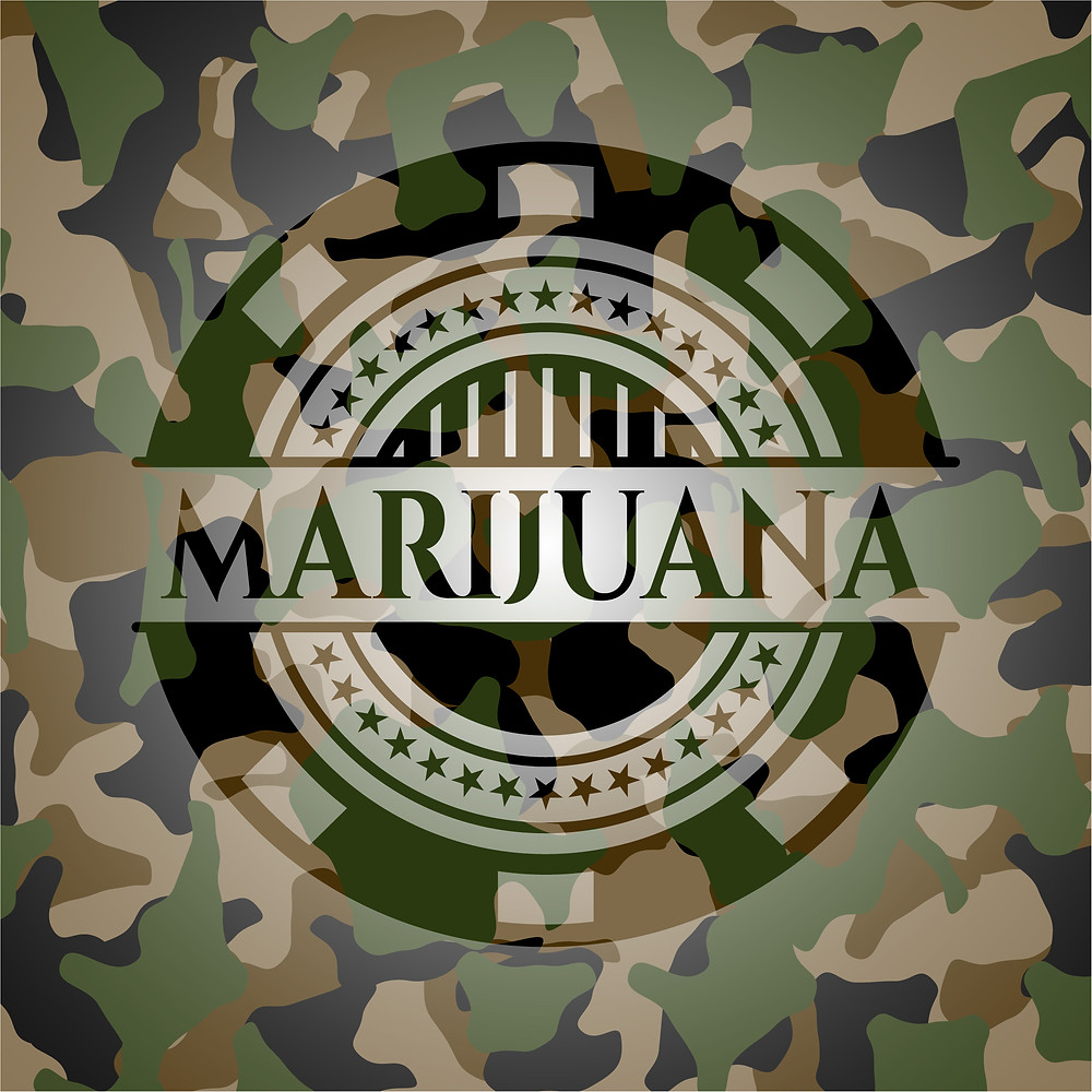 Marijuana Emblem with Camouflage Design Overlaid