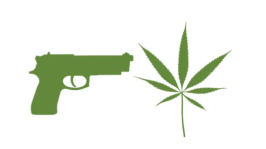 photo of a gun and a marijuana leaf