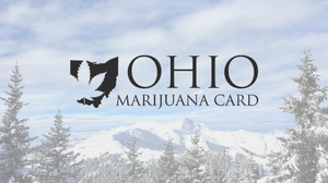 a photo of ohio marijuana card logo with winter scenery in the background