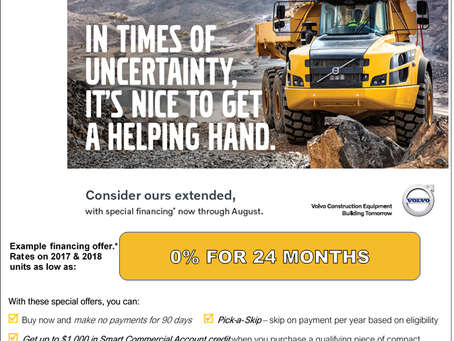 Put Low Volvo CE Rates & Special Terms to Work for You