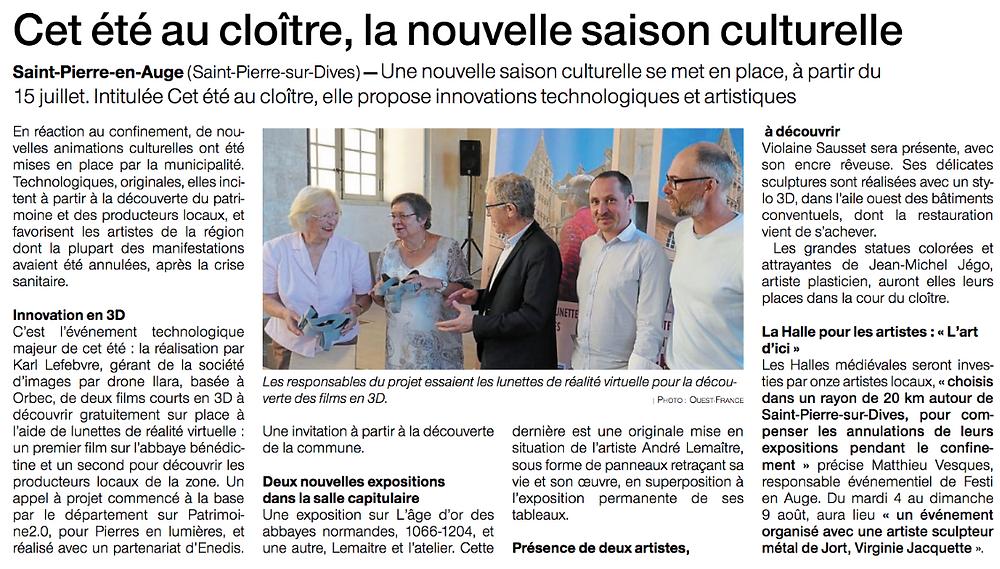 """"""" Cet été au cloître """" : ouverture de la saison culturelle de St Pierre-en-Auge"""